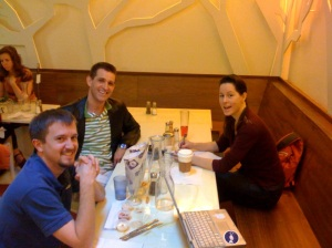 DIYbiologists John, Spencer, and Marnia enjoy Frjtz fries